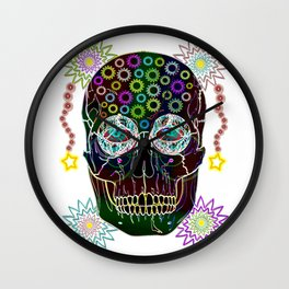 skull neon flowers Wall Clock