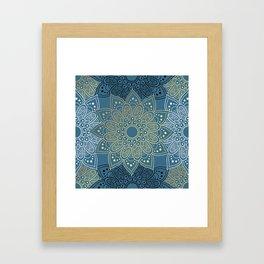 GOLDEN MANDALA ON BLUE Framed Art Print