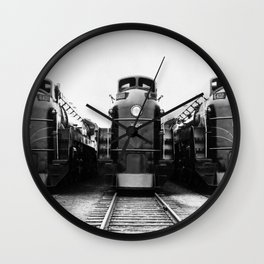 Three of a Kind Train Locomotives - Trois locomotives du même genre  Wall Clock