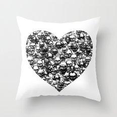 Skull Black Heart Throw Pillow