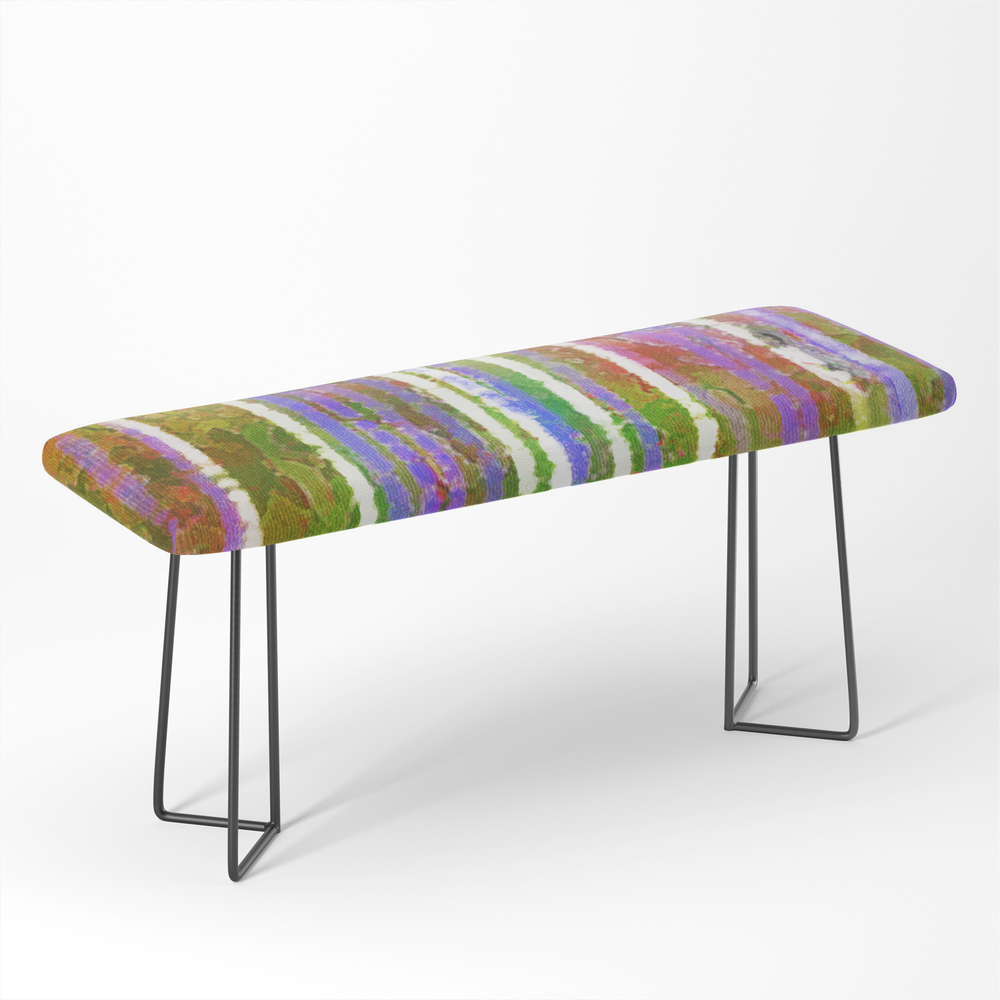 Colorful Forest Abstract Triptych Part 3 Bench by menegasabidussi