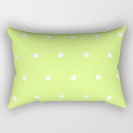 Big white polka dots pattern on light lime green background Rectangular Pillow