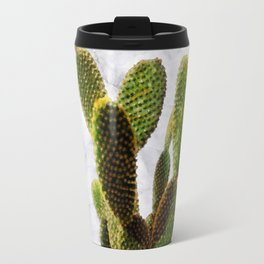 Cactus on White Marble and Zigzag Wall Travel Mug