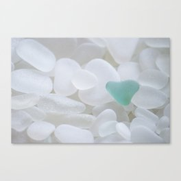 Japanese Teal Sea Glass Heart Canvas Print