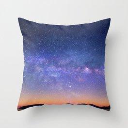 Galaxy over the Mountains Throw Pillow