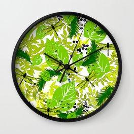 PALM LEAF GREEN DRAGONFLY Wall Clock