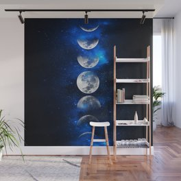 Phases of the Moon Blue Wall Mural