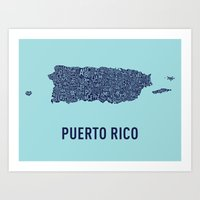 puerto rico Art Prints featuring Puerto Rico Typography Map by Melissa Curtin Design