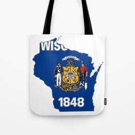 Wisconsin Map with State Flag Tote Bag