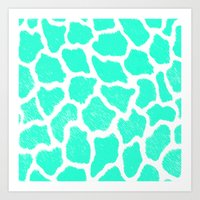 Giraffe Print Pattern Teal Mint Green Ombre Art Print