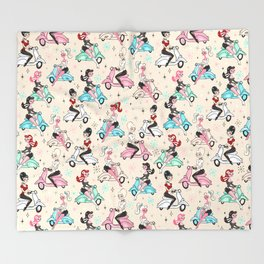 Scooter Girls Pattern Throw Blanket
