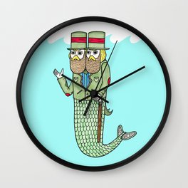 Portrait of a two headed merman Wall Clock