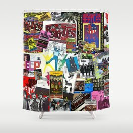 British Rock and Roll Invasion Fab Four Vintage Concert Rock and Roll Painting Collage portrait Shower Curtain