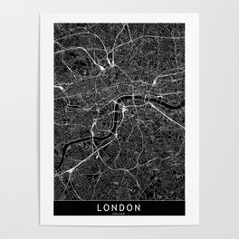 London Black Map Poster