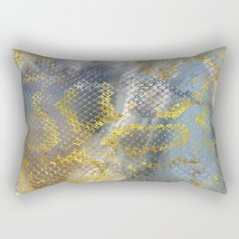 Faux gold snake skin texture on  marble Rectangular Pillow