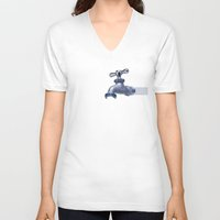 waterfall V-neck T-shirts featuring Waterfall by Shkvarok