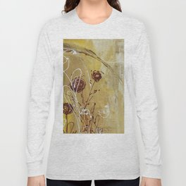 Yellow Tan Spring Abstract Flowers. Jodilynpaintings. Abstract Floral Long Sleeve T-shirt
