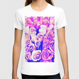 bouquet of roses texture pattern abstract in pink and purple T-shirt