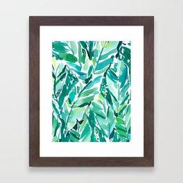 BANANA LEAF JUNGLE Green Tropical Framed Art Print