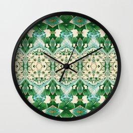 Boujee Boho Green Lace Geometric Wall Clock