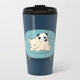 Kawaii Lazy Panda and Polar Bear Travel Mug