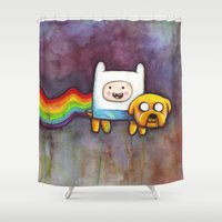 finn and jake Shower Curtains featuring Nyan Time with Jake and Finn by Olechka