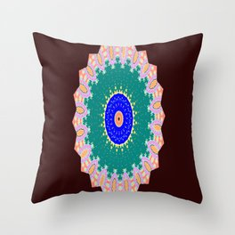 Lovely Healing Mandala  in Brilliant Colors: Brown, Pink, Sunset Orange, Teal, Cream, and Royal Blue Throw Pillow