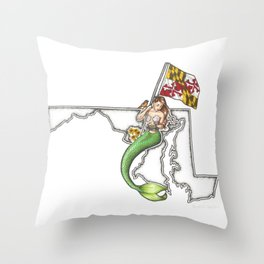 Maryland Mermaid Throw Pillow