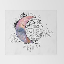 Graphic Moon Watercolor Painting Throw Blanket