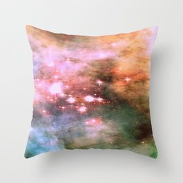 Colorful Pink Sparkle Carina Nebula Abstract Throw Pillow