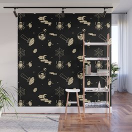 Halloween pattern in black bg Wall Mural