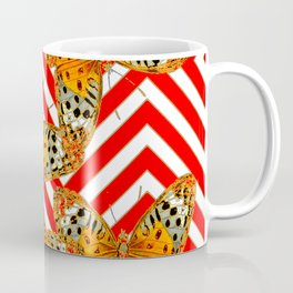 ORANGE BUTTERFLIES ON RED-WHITE GRAPHIC PATTERNS Coffee Mug