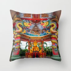 Chinese Temple Buddha Throw Pillow