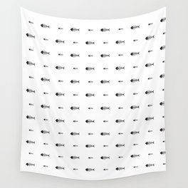 Black & White Fish Skeleton Pattern Design Wall Tapestry