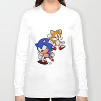 sonic Long Sleeve T-shirts featuring Sonic & Tails by Jinny Hinkle