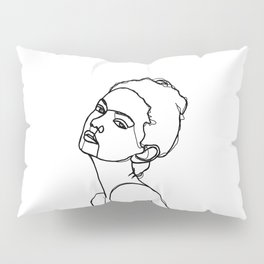 Women face one line drawing - Adel Pillow Sham
