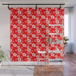 Red And White Turtles Hawaiian Pattern Wall Mural