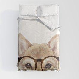 Shiba inu with glasses Dog illustration original painting print Comforters