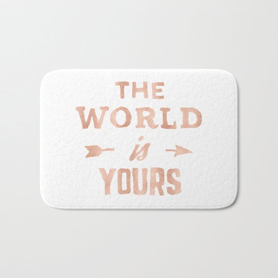 THE WORLD IS YOURS Rose Gold Pink on Black Bath Mat