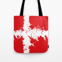 denmark Tote Bags featuring in to the sky, Denmark  by seb mcnulty