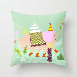 Wild party - Elephant Throw Pillow