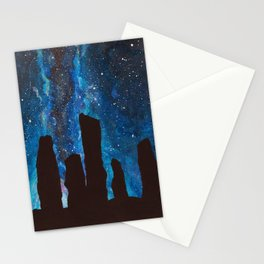 Outlander Craigh Na Dun Standing Stones Watercolor Painting with milky way galaxy Stationery Cards