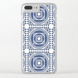 Mediterranean Pattern 1 - Tile Pattern Designs - Geometric - Blue - Ceramic Tile - Surface Pattern Clear iPhone Case