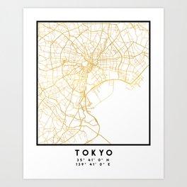 TOKYO JAPAN CITY STREET MAP ART Art Print
