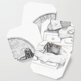 Rainy Day Window pencil illustration Coaster