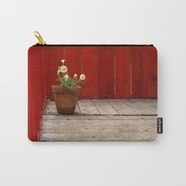 White Pansies and Red Fence Carry-All Pouch