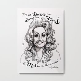 Pen & Marker Drawing of Dolly Parton Metal Print