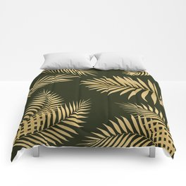 Golden and Green Palm Leaves Comforters