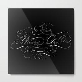 Writer's Den Calligraphy Flourish Elegant Black Metal Print