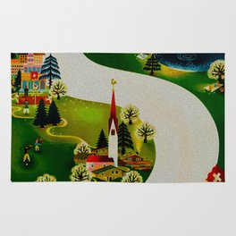 Vintage Switzerland Travel Rug